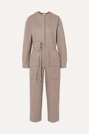 Belted twill jumpsuit