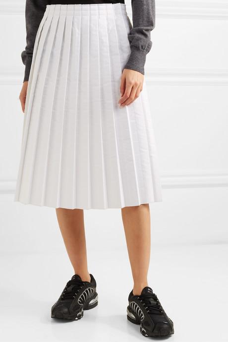 Pleated padded shell midi skirt