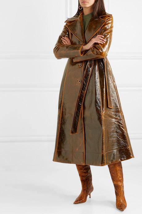 Rhea coated wool-blend trench coat