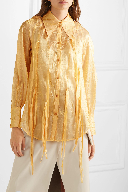 REJINA PYO Lana fringed metallic crinkled-organza shirt