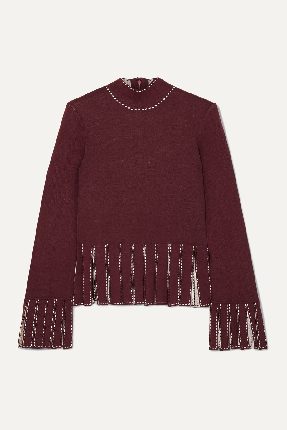 STAUD Mika cropped fringed stretch-knit top