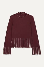 Mika cropped fringed stretch-knit top