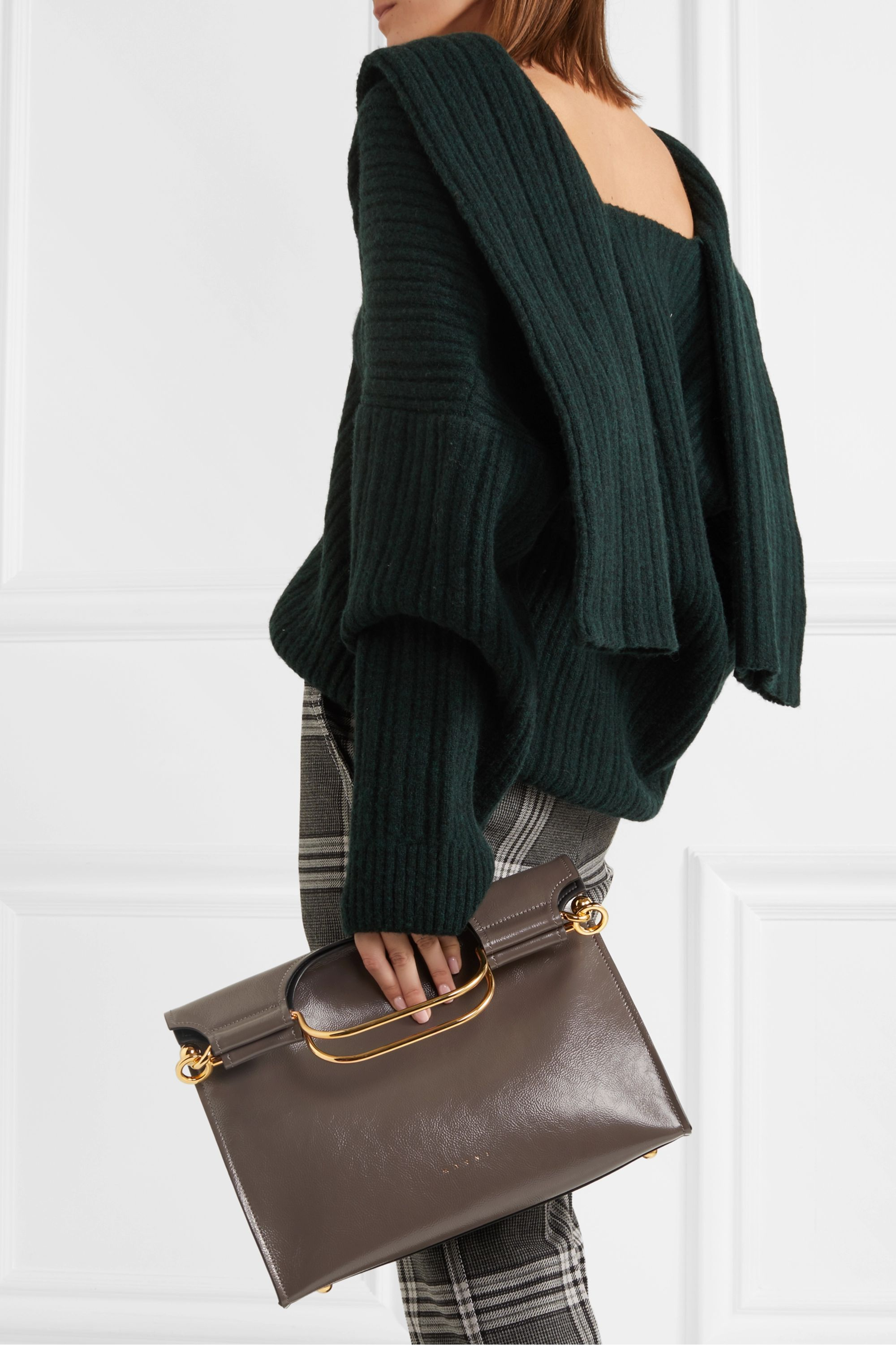 Marni Marcel textured glossed-leather tote