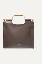 Marcel textured glossed-leather tote