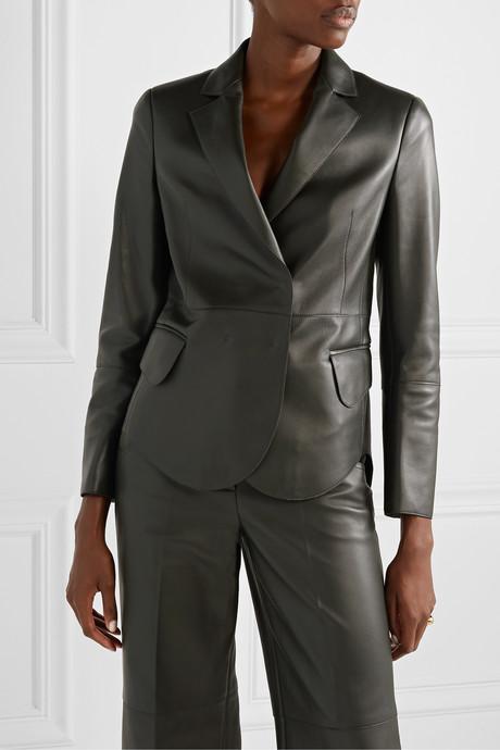 Denada double-breasted leather blazer