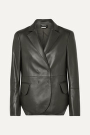 Akris Denada double-breasted leather blazer