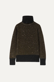 Sequined metallic cashmere-blend turtleneck sweater