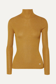 Akris Metallic ribbed cashmere-blend turtleneck top