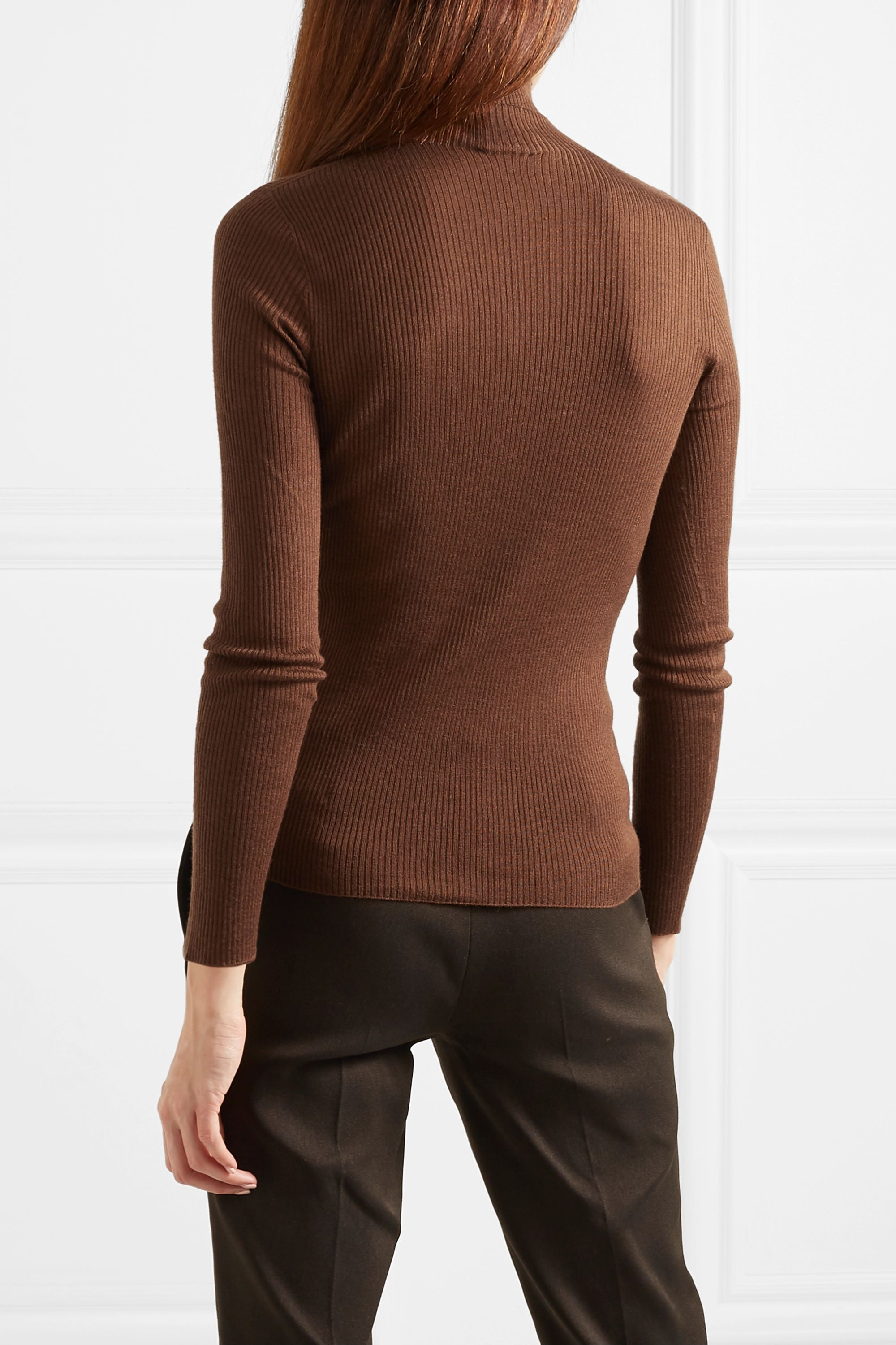 Akris Ribbed cashmere and mulberry silk-blend turtleneck sweater