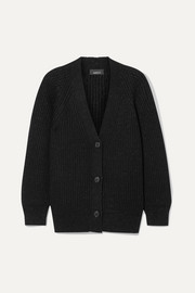 Oversized ribbed cashmere-blend Lurex cardigan