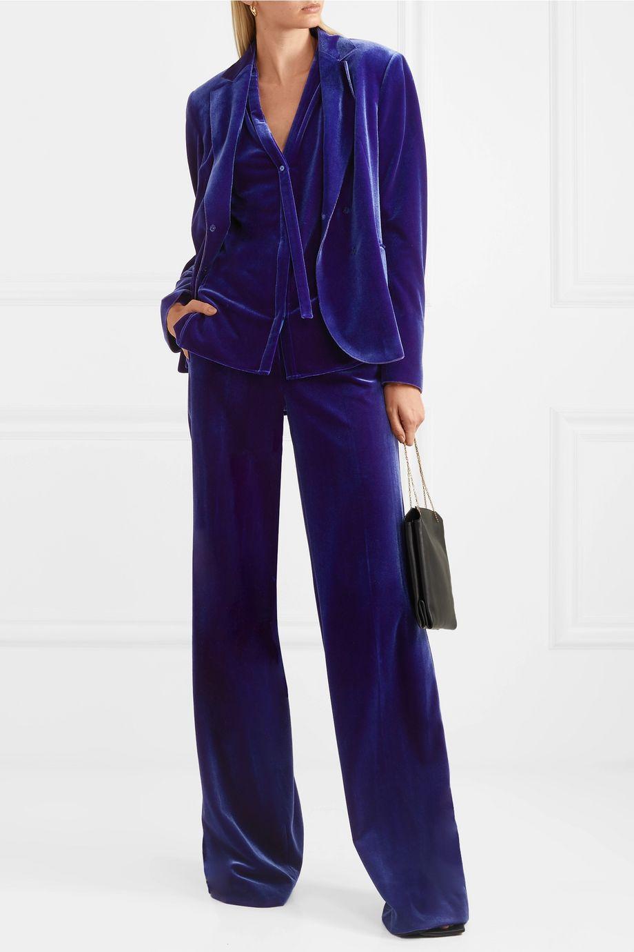 Akris Flore stretch-velvet wide-leg pants