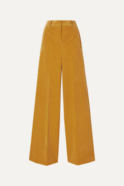 Akris Flore cotton and cashmere-blend corduroy wide-leg pants