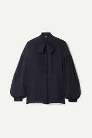 Akris Pussy-bow mulberry silk-crepe blouse