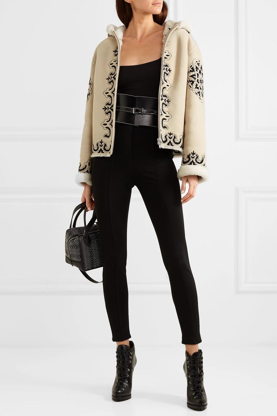 Alaïa Hooded embroidered shearling jacket
