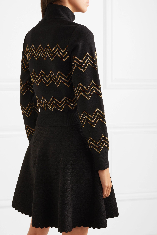 Alaïa Metallic embroidered wool-blend turtleneck sweater
