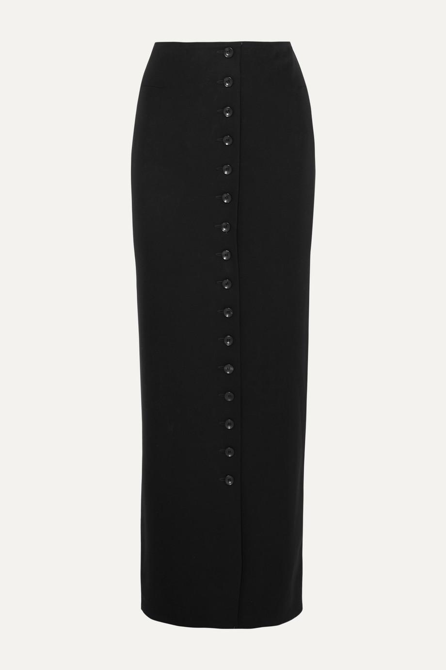 Alaïa Pleated wool-crepe maxi skirt