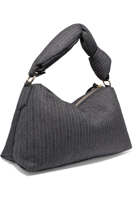 Dries Van Noten Padded pinstriped wool-blend tote