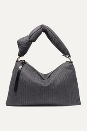 Padded pinstriped wool-blend tote
