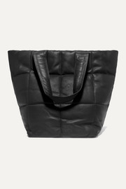 Quilted textured-leather tote