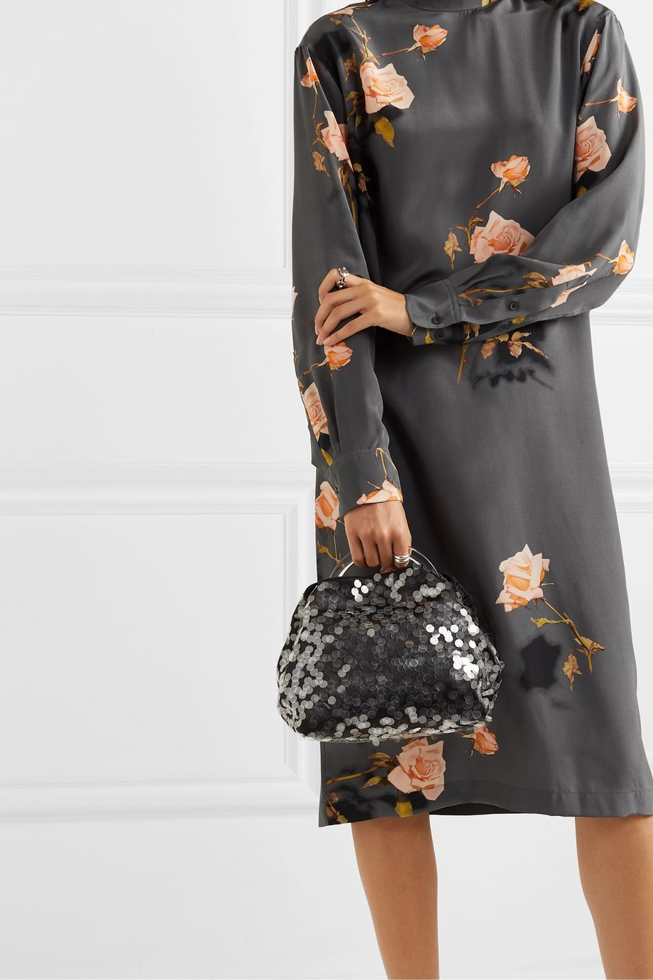 Dries Van Noten Sequin-embellished satin and resin tote
