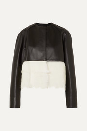 Loewe Shearling-paneled leather jacket