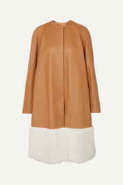 Loewe Shearling-paneled leather coat