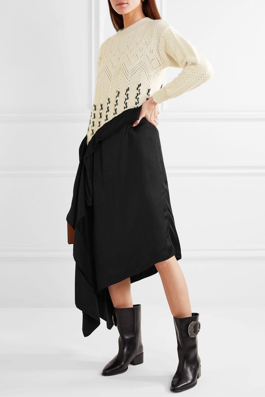 Loewe Asymmetric paneled wool and alpaca-blend and satin midi dress