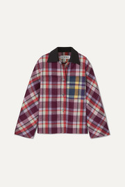 Loewe Leather-trimmed checked brushed-wool jacket