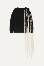 Fringed cable-knit wool-blend sweater