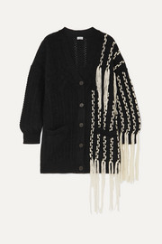 Fringed wool-blend cardigan