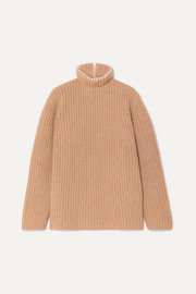 Faux pearl-embellished ribbed cashmere turtleneck sweater