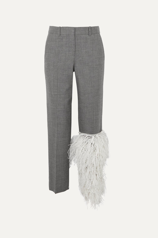Loewe Feather-trimmed wool straight-leg pants