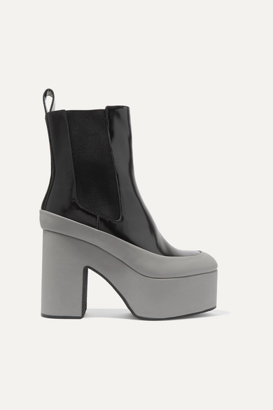Rubber Trimmed Glossed Leather Platform Ankle Boots by Dries Van Noten