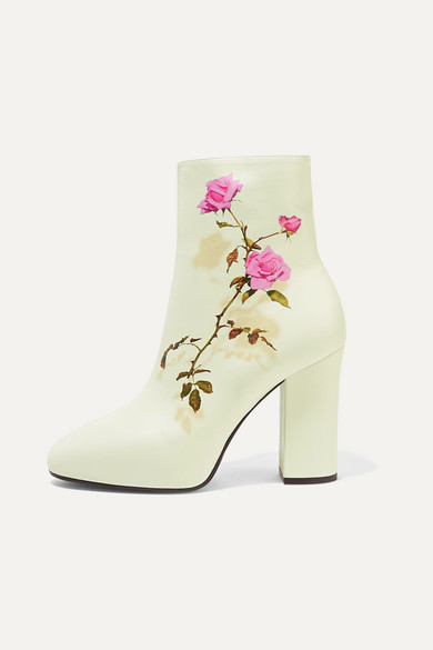 Dries Van Noten Floral-Print Leather Ankle Boots In White