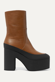 Dries Van Noten Rubber-trimmed leather platform ankle boots