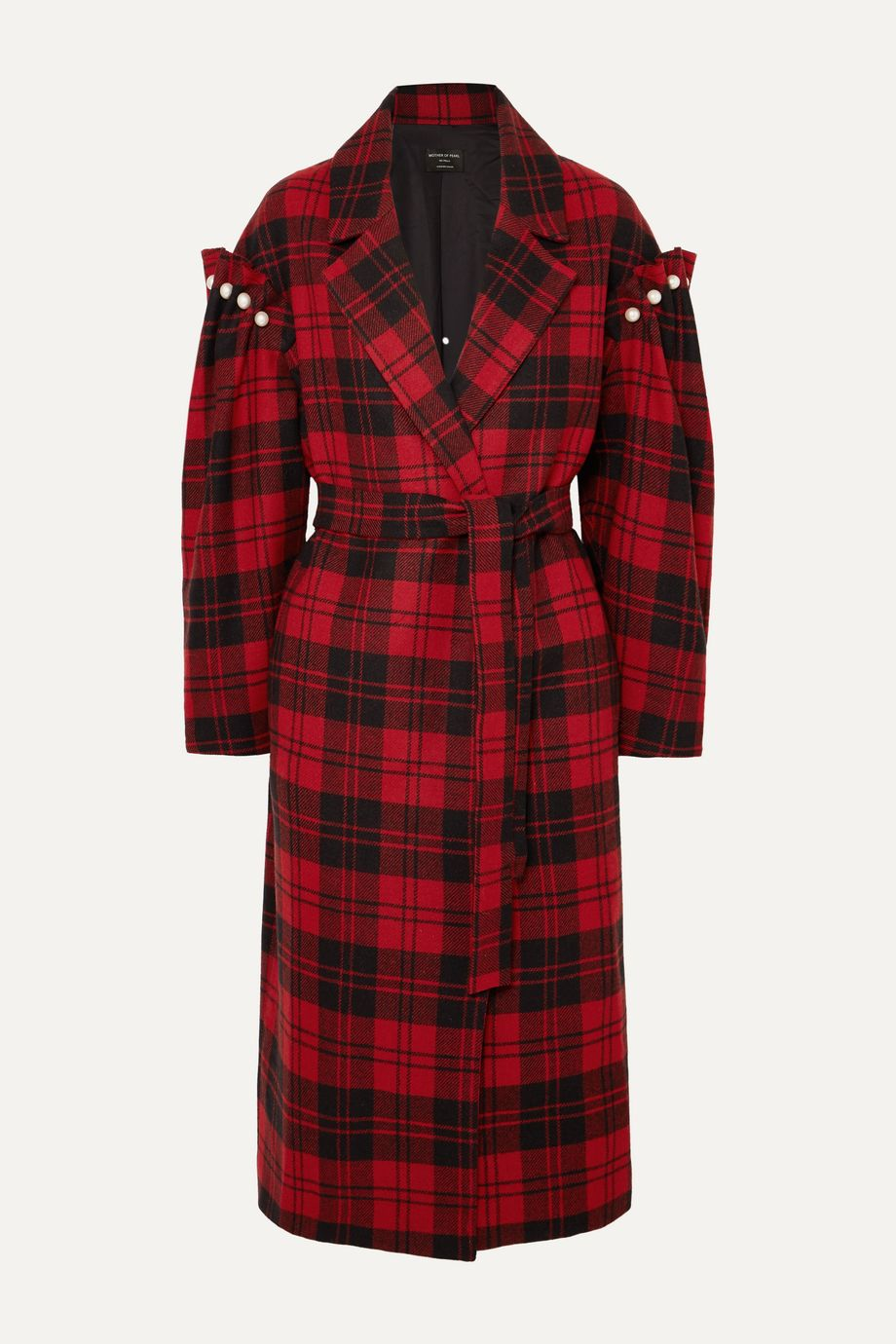 Mother of Pearl + NET SUSTAIN Webb belted faux pearl-embellished checked wool coat