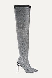 Balmain Odalys crystal-embellished suede over-the-knee boots