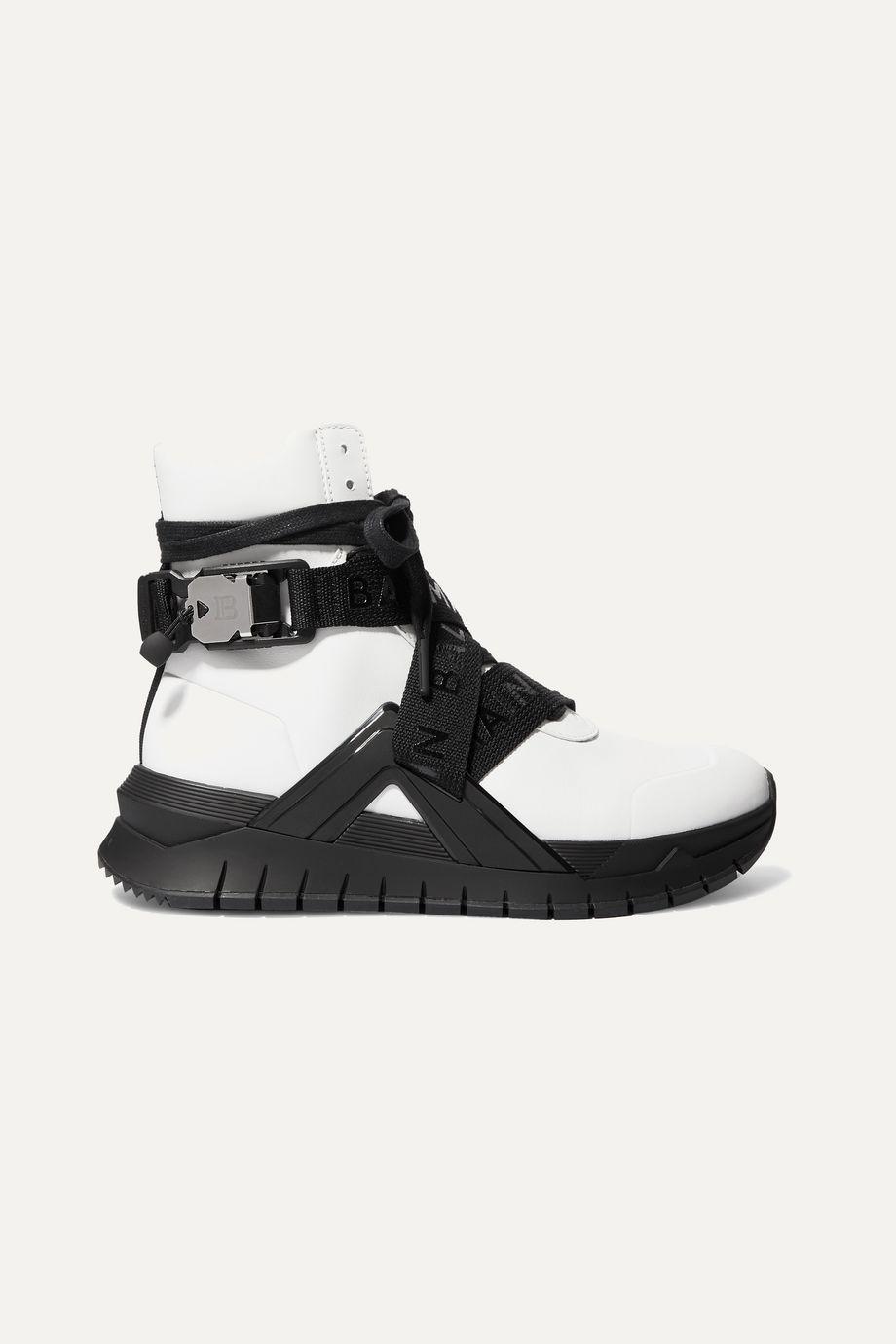 Balmain Troop 品牌标志印花弹力针织皮革高帮运动鞋