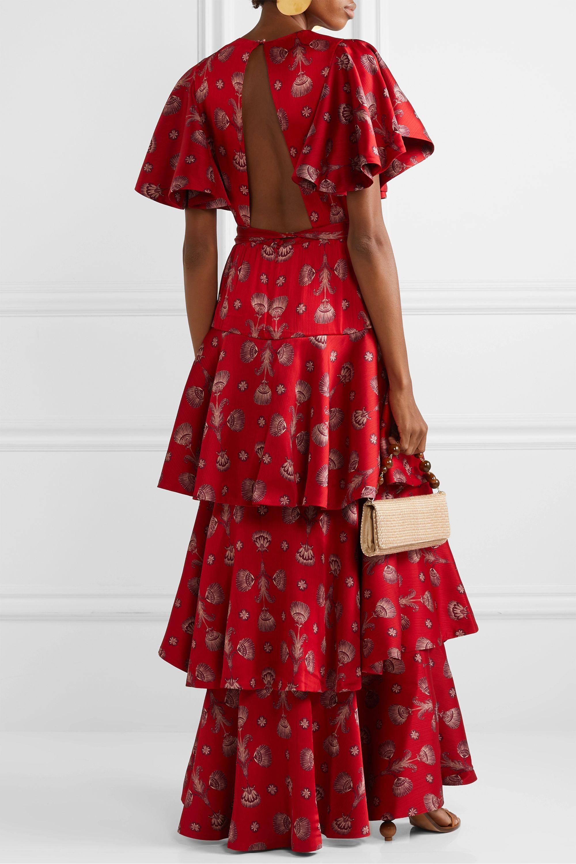 Johanna Ortiz Meditacion Del Mas Alla tiered printed plissé-satin maxi dress