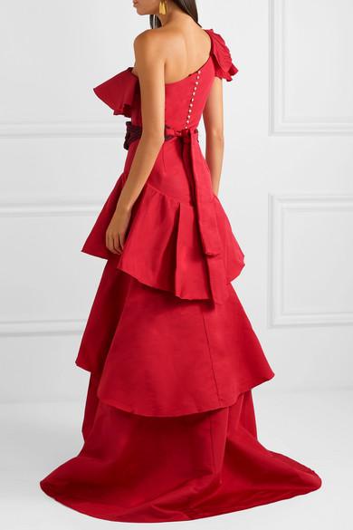 Cumbia Y Luceros one-shoulder belted ruffled silk-taffeta gown