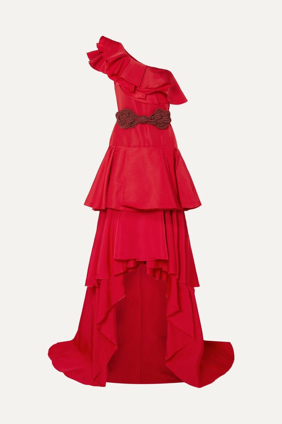 Johanna Ortiz Cumbia Y Luceros one-shoulder belted ruffled silk-taffeta gown