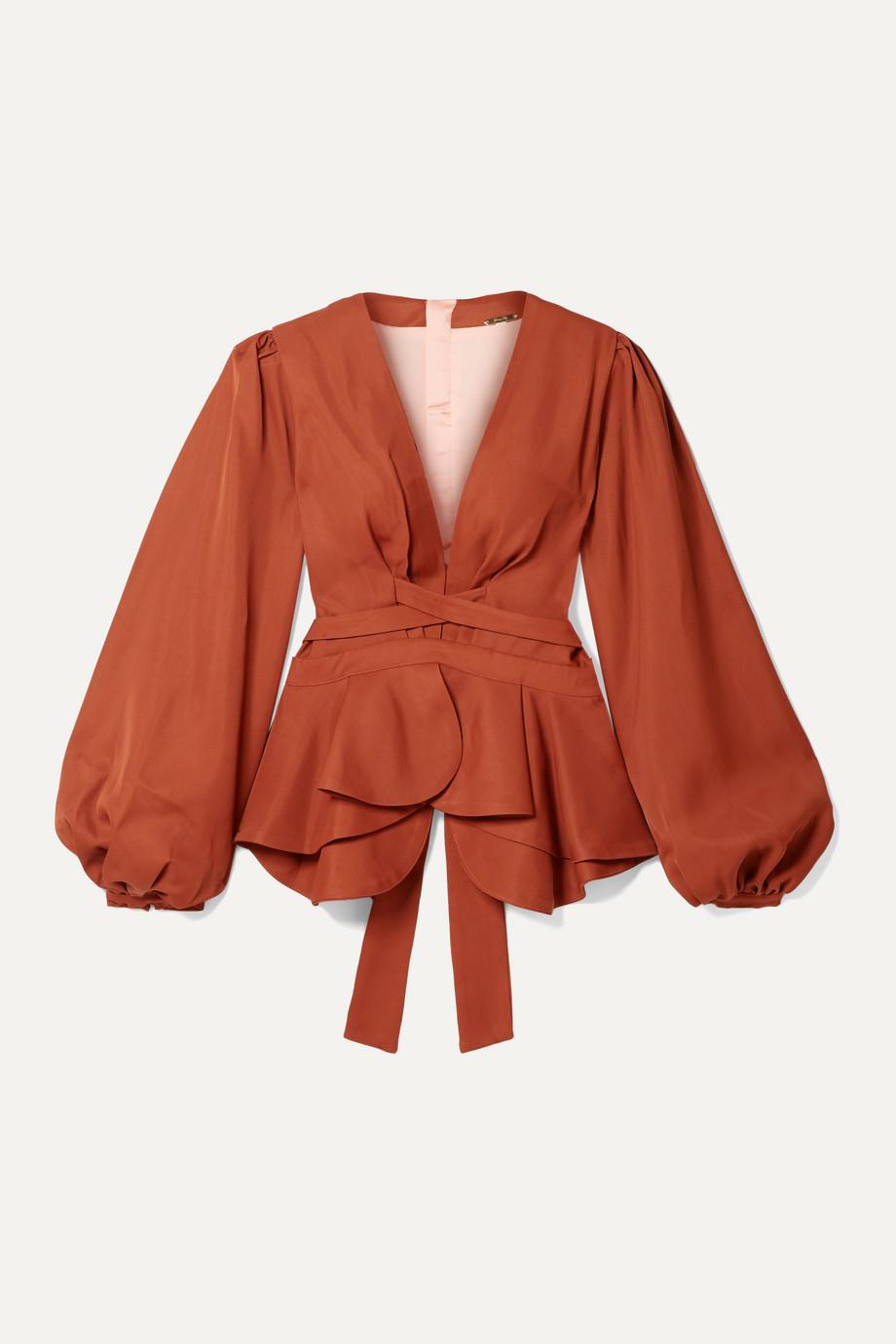 Johanna Ortiz Coral de Nuqui twill peplum blouse