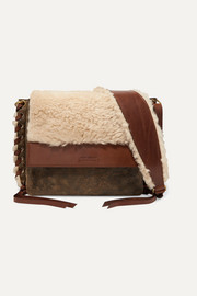Isabel Marant Fleyn shearling and leather shoulder bag