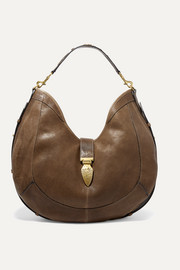 Calusa embellished textured-leather shoulder bag