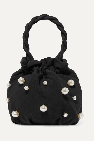 Grace Faux Pearl Embellished Twill Tote by Staud
