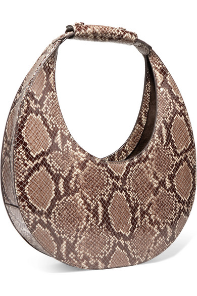 Staud Totes Moon snake-effect leather tote