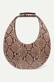 Moon snake-effect leather tote