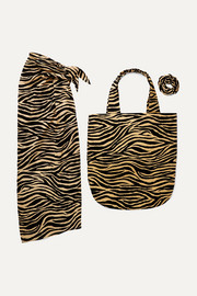 Faithfull The Brand Tiger-print cotton pareo, tote and hair tie set