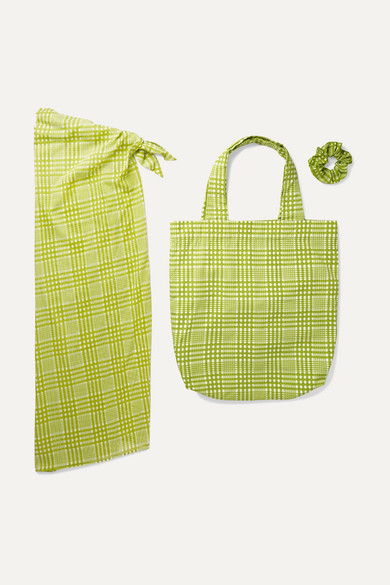 Checked Cotton Pareo, Tote And Hair Tie Set by Faithfull The Brand