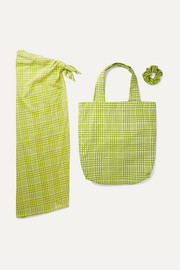 Faithfull The Brand Checked cotton pareo, tote and hair tie set